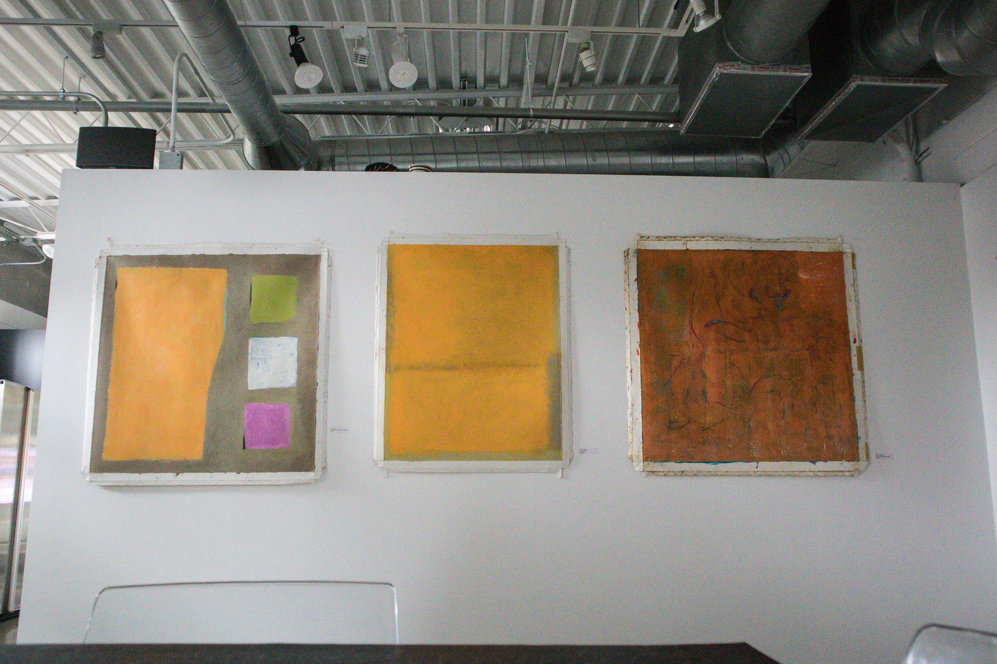 LEFT: Ochre Field: Three Floating Squares / Info. on request for Far Right & 2nd From Right pieces